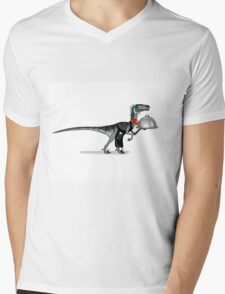 Illustration of a raptor food waiter. Mens V-Neck T-Shirt