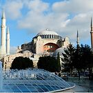 Fountains and Hagia Sophia, Istanbul, Turkey by Zoe Marlowe