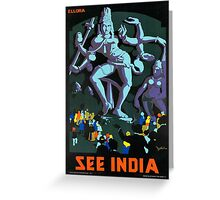 India Vintage Travel Poster Greeting Card