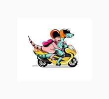 Illustration of two raptors riding a motor scooter. Unisex T-Shirt