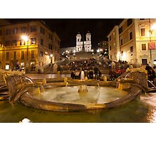 Piazza di Spagna by Night in Rome Photographic Print