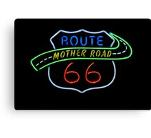 Route 66 Mother Road Neon Sign Canvas Print