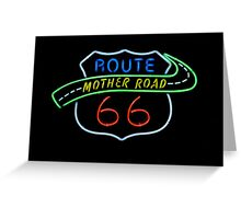 Route 66 Mother Road Neon Sign Greeting Card