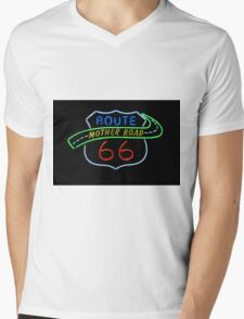 Route 66 Mother Road Neon Sign Mens V-Neck T-Shirt