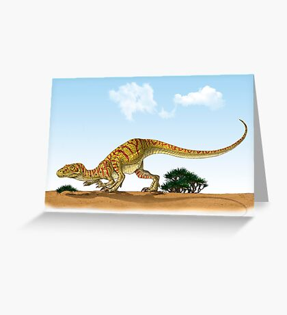 Eoraptor, an early dinosaur that lived during the late Triassic Period. Greeting Card
