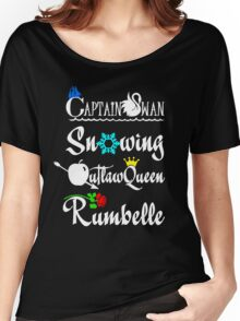 OUAT ships (white text) Women's Relaxed Fit T-Shirt