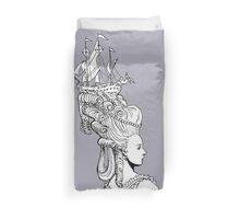 Girl With Ship Duvet Cover