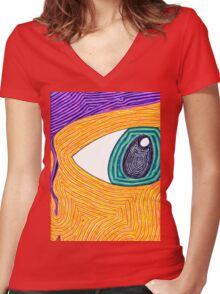 Psychedelic Eye Women's Fitted V-Neck T-Shirt