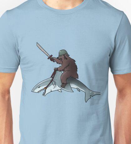 Bear riding a shark Unisex T-Shirt