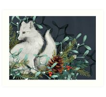 Arctic Fox Holiday Portrait Art Print