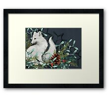 Arctic Fox Holiday Portrait Framed Print