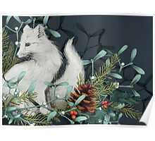 Arctic Fox Holiday Portrait Poster