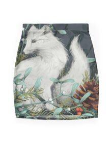 Arctic Fox Holiday Portrait Mini Skirt