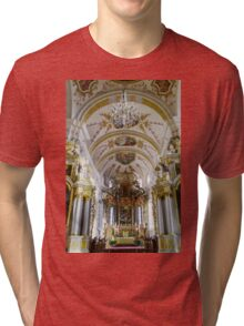 Ebersmunster Abbey Cathedral majestic interior, baroque style, Alsace, France Tri-blend T-Shirt