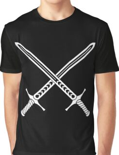 Crossed Swords Tattoo Design - White on Black Graphic T-Shirt