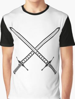 Crossed Swords Tattoo Design - Black Graphic T-Shirt