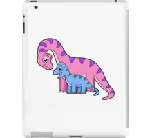 Cute illustration of a mother and child Brachiosaurus. iPad Case/Skin