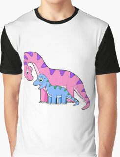 Cute illustration of a mother and child Brachiosaurus. Graphic T-Shirt
