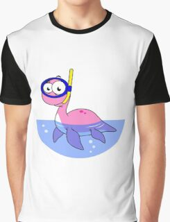 Illustration of a snorkeling Loch Ness Monster. Graphic T-Shirt