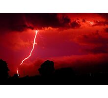 Lightning in red sky Photographic Print