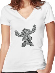 Stitch Zentangle Women's Fitted V-Neck T-Shirt
