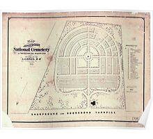 Civil War Maps 0652 Map of Antietam National Cemetery at Sharpsburg Maryland Poster