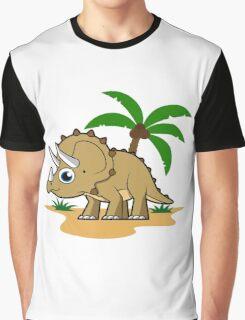 Cute illustration of a Triceratops in a tropical climate. Graphic T-Shirt