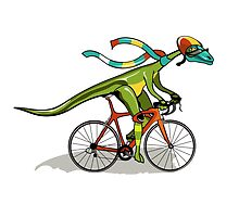 Illustration of an Anabisetia dinosaur riding a bicycle. by StocktrekImages