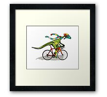 Illustration of an Anabisetia dinosaur riding a bicycle. Framed Print