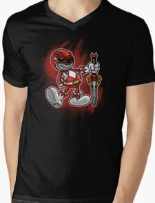 Vintage Red Ranger Mens V-Neck T-Shirt