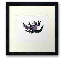 Illustration of a Raptor performing karate. Framed Print