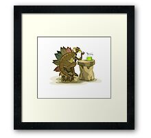 Illustration of a Stegosaurus drinking a beverage. Framed Print