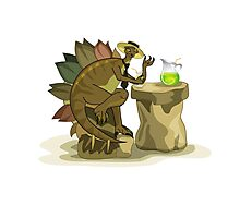 Illustration of a Stegosaurus drinking a beverage. Photographic Print