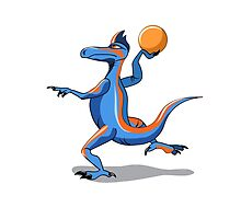 Illustration of an Iguanodon playing basketball. by StocktrekImages