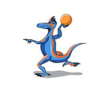 Illustration of an Iguanodon playing basketball. Photographic Print