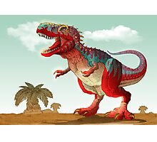 Colorful illustration of an angry Tyrannosaurus Rex. Photographic Print