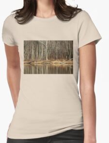 Across Skymount Pond - Autumn Browns Womens Fitted T-Shirt