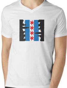 Chicago Flag and Skyline Sideways Mens V-Neck T-Shirt