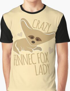 Crazy Fennec Fox Lady Graphic T-Shirt