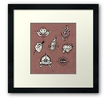 Old school tattoo drawings Framed Print