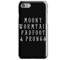 Moony Wormtail Padfoot and Prongs white iPhone Case/Skin