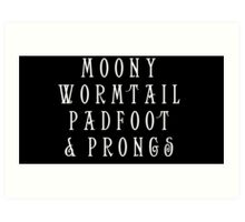Moony Wormtail Padfoot and Prongs white Art Print