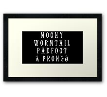 Moony Wormtail Padfoot and Prongs white Framed Print