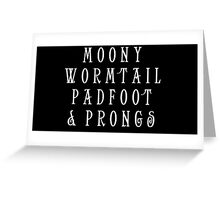 Moony Wormtail Padfoot and Prongs white Greeting Card