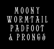 Moony Wormtail Padfoot and Prongs white by rachelshade