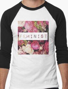 Floral Feminist Design Men's Baseball ¾ T-Shirt