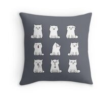 Nine cute white kittens Throw Pillow