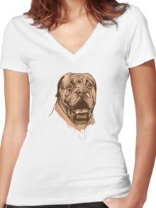 portrait of boxer dog in color and black and white Women's Fitted V-Neck T-Shirt
