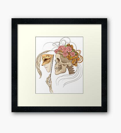 colorful illustration with skull holding a human face maskcolorful illustration with skull holding a human face mask Framed Print