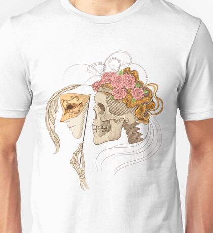 colorful illustration with skull holding a human face maskcolorful illustration with skull holding a human face mask Unisex T-Shirt
